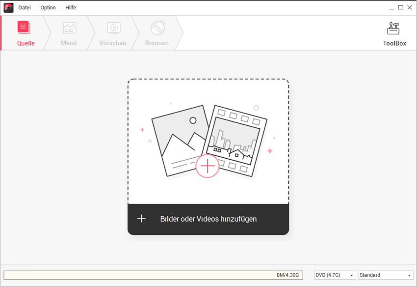 Videos oder Fotos zu DVD Creator Mac hinzufügen