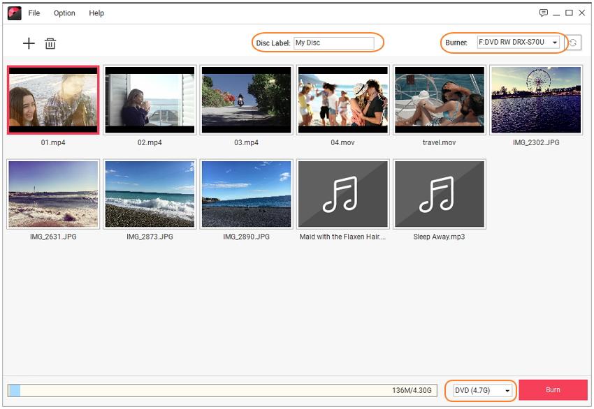 Choose disc type to burn H.264 to DVD