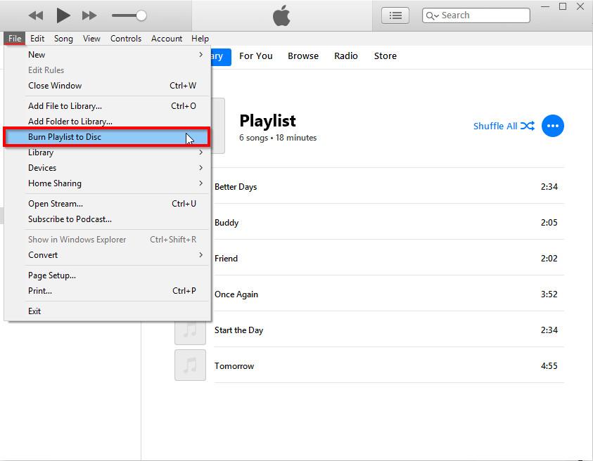Burn Files to CD on Windows 8 - Select Burn Playlist