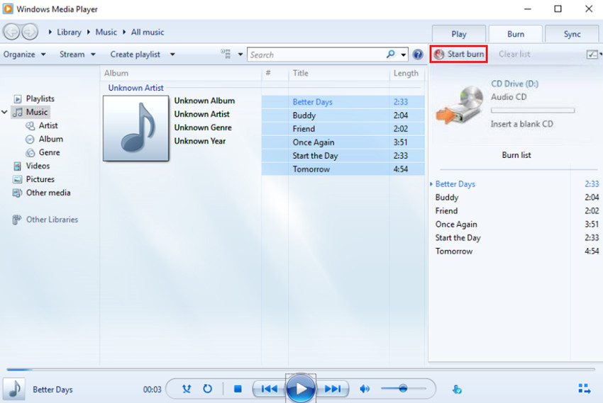 Burn Files to CD on Windows 8 - Start Burning Music to CD