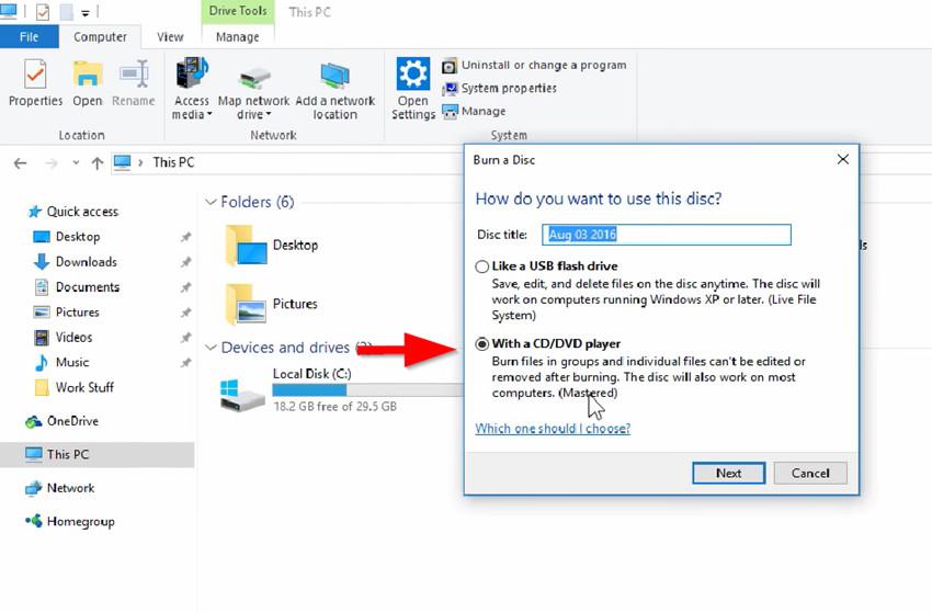 Burn Files to CD on Windows 8 - Insert Blank Disc