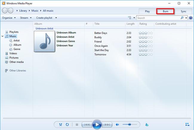 Burn CD with Windows Media Player - Click Burn Tab
