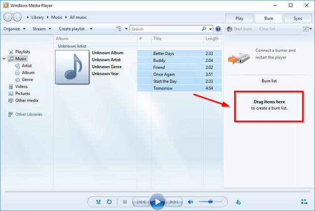 Burn CD with Windows Media Player - Burn Side Bar