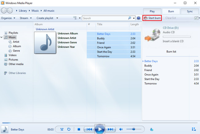Burn CD with Windows Media Player - Start Burn