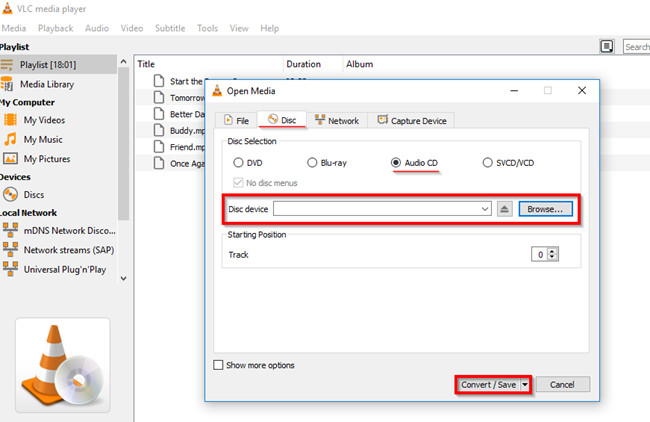 Burn CD on Windows - Open Media Window