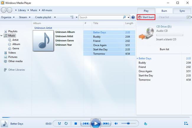 Burn CD on Windows - Start Burning Music to CD