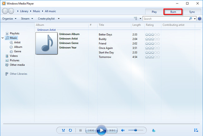 How to Burn FLAC to CD - Choose Burn Tab