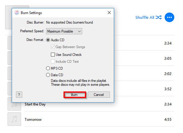 Burn Music to CD on Windows 10 - Start Burning CD