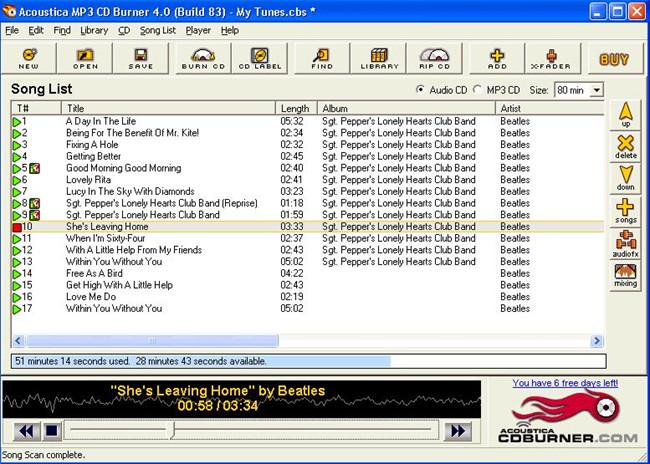 Most Helpful MP3 CD Burners - Acoustica MP3 CD Burner