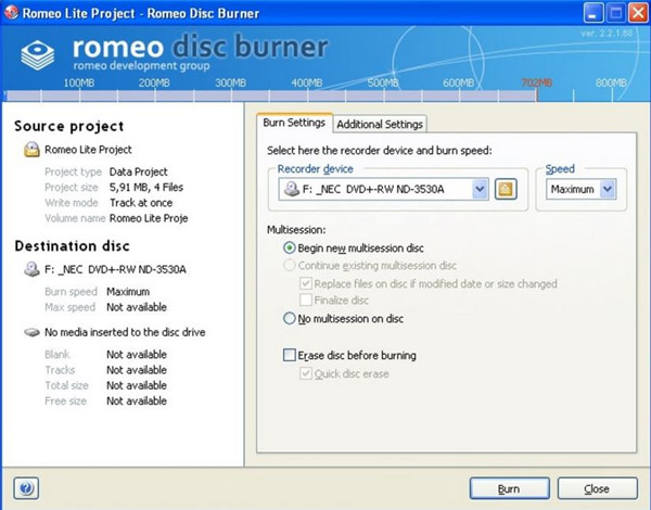 Is Real Player Equipped with CD Burner - Romeo Burner Lite