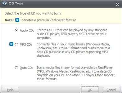 Is Real Player Equipped with CD Burner - Choose Audio CD