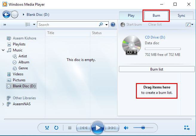 Use Windows Media Player to Burn CD on Computer - Start Windows Media Player and Choose Burn Tab