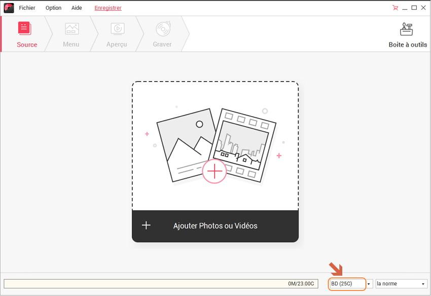 interface de gravure bluray