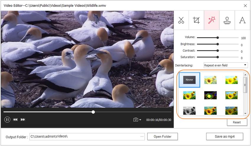 adicionar filtro de vídeo