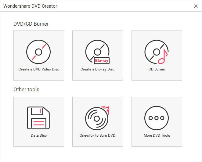 Burn Audio to CD - Start Wondershare DVD Creator and Choose CD Burner