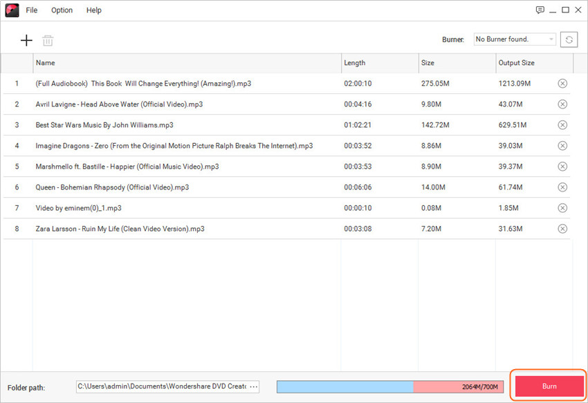 How to Burn Music to CD - Start Wondershare DVD Creator