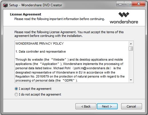 instalar o criador de dvd wondershare