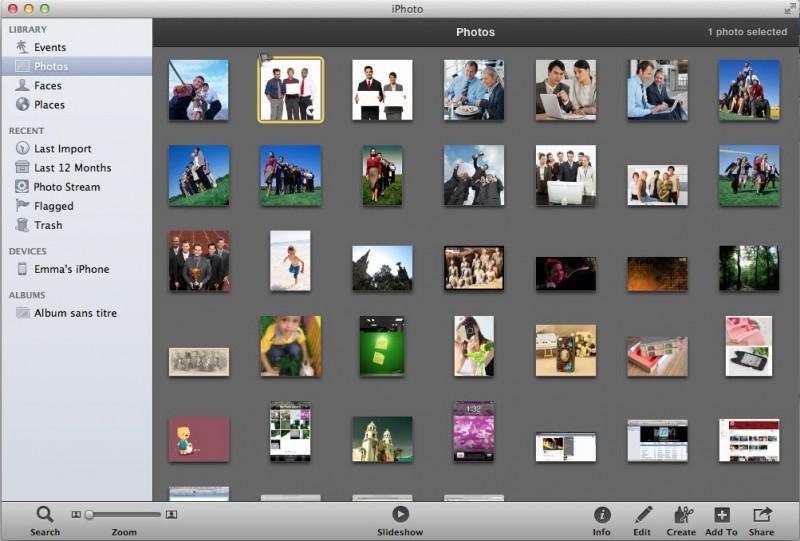 sélectionnez iPhotos pour le diaporama