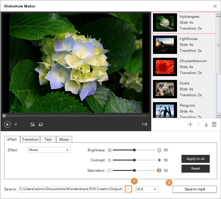 specify photo slideshow folder