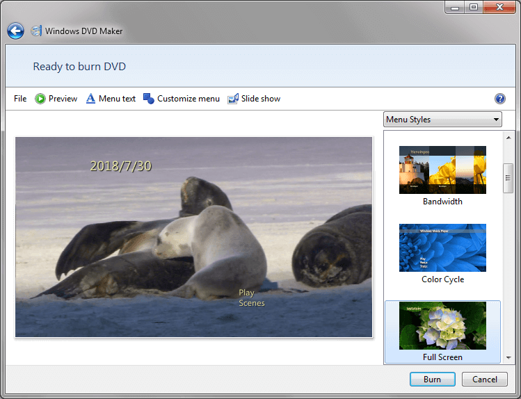 Burn Windows Movie Maker files to DVD Windows 7