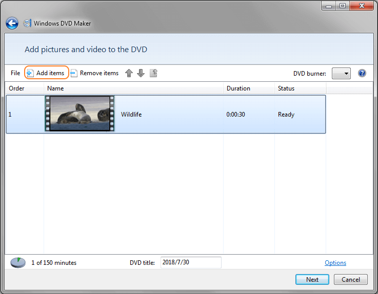 Add Windows Movie Maker files to DVD Maker