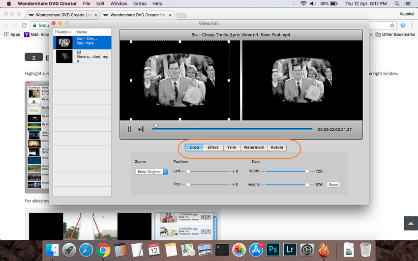 Edit MP4 videos before MP4 to DVD conversion