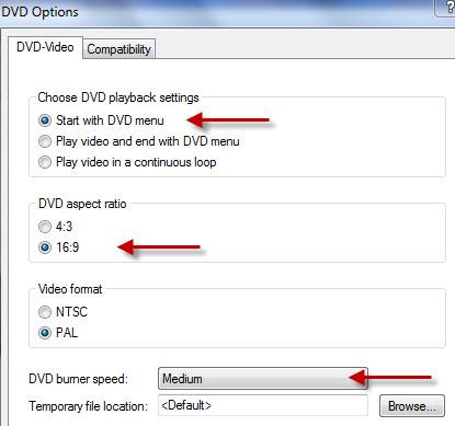 définir le menu dvd