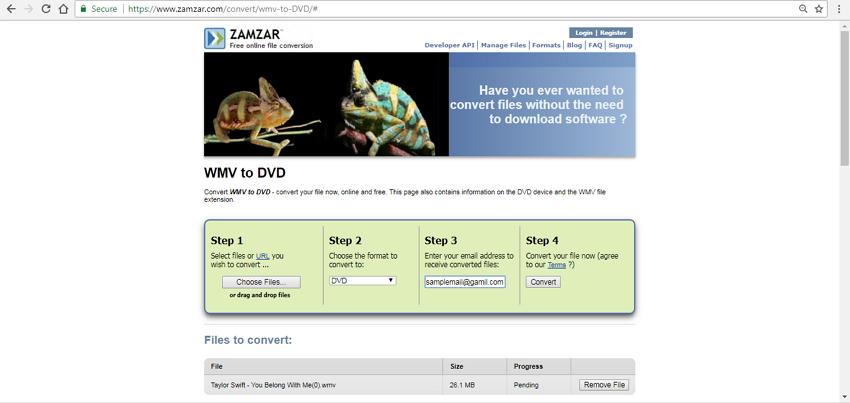 en ligne convertisseur WMV en DVD Zamzar