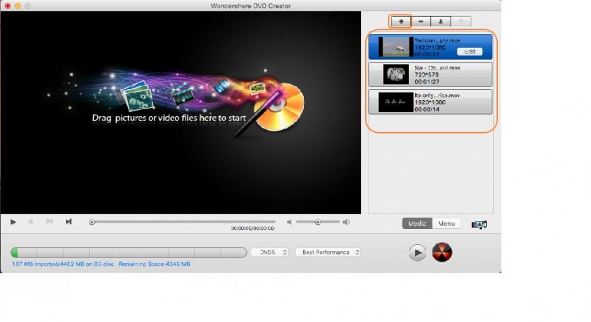 Add files to MOV to DVD Mac burner