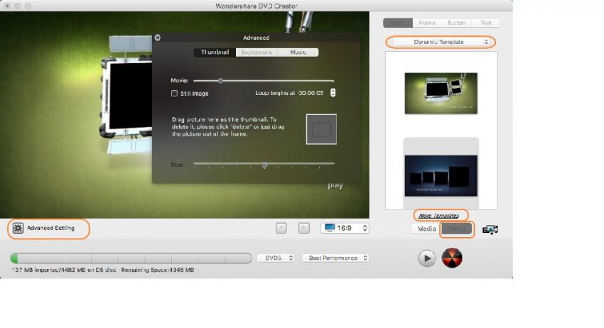 Choose and customize DVD templates
