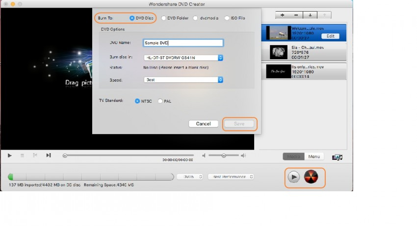 Preview and convert MOV to DVD