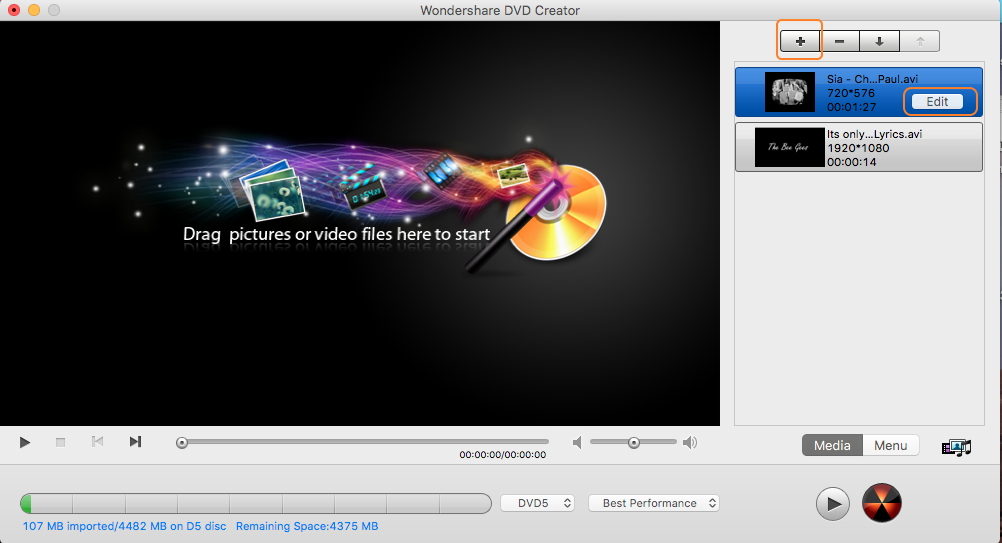 Load AVI videos for AVI to DVD Mac conversion