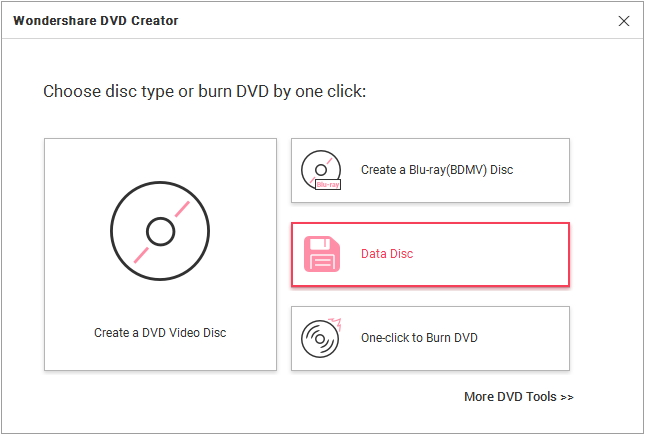 Start Wondershare DVD Creator and Choose Type