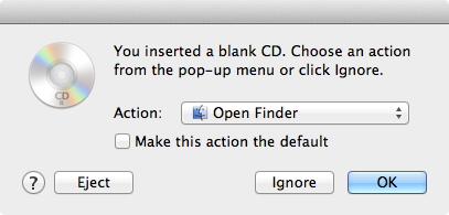 Burn Data Disc on Mac - Inserter the disc and select Open Finder
