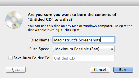 Burn Data Disc on Mac - Add files into the data disc