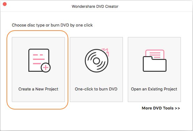 Burn Data Disc on Mac - Create a new project