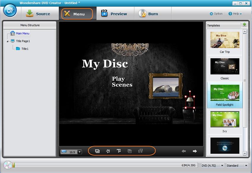 Choose DVD Menu template at free DVD authoring software alternative
