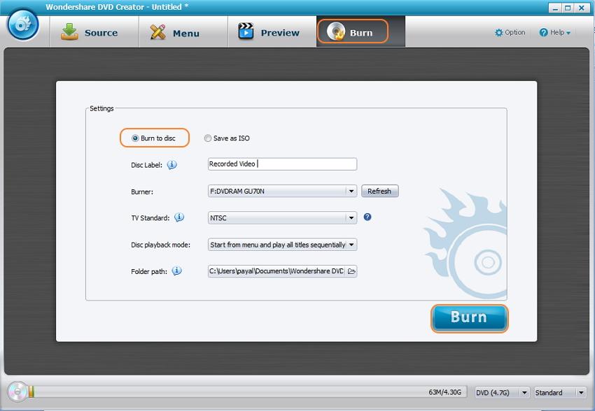 Preview and Burn videos at freeware DVD burner alternative