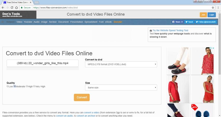 MP4 zu DVD mit Files Conversion online konvertieren