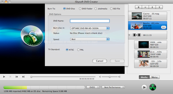 Other 5 Free HD DVD Burners to Burn HD Video to DVD Easily-iSkysoft DVD Creator for Mac