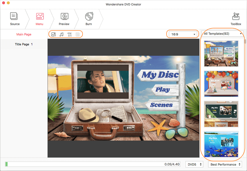Choose DVD menu and customize at film to DVD conversion tool