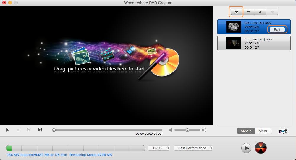 Add MKV videos for MKV to DVD conversion