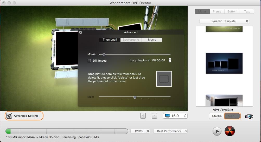 Select DVD Menu template and customize it