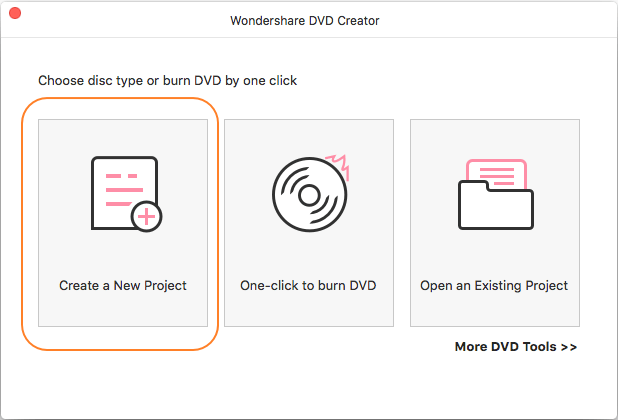 Launch Wondershare iMovie to DVD creator and select new project