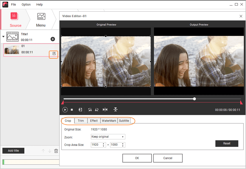 Edit videos before the video to dvd service