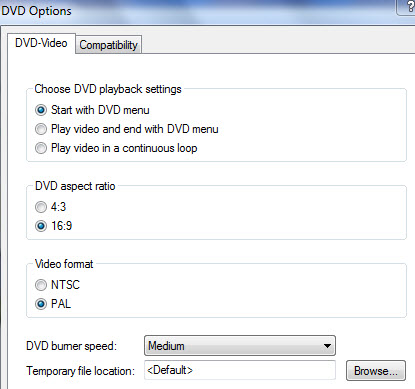 abrir configurações de modelo de DVD com o Windows DVD Maker Windows 7