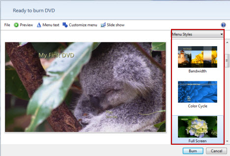 personalizar menu de DVD com o fabricante de DVD Windows 7