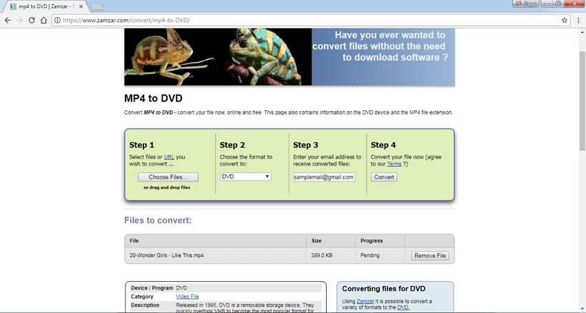 converter MP4 para DVD online grátis usando Zamzar
